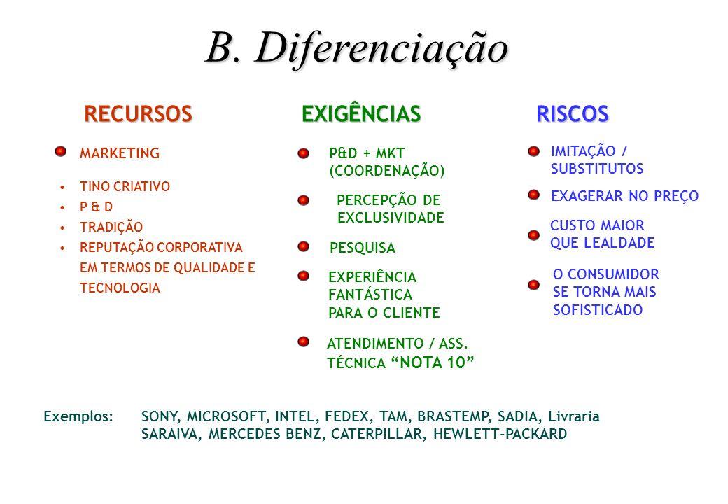 B. Diferenciação RECURSOS EXIGÊNCIAS RISCOS
