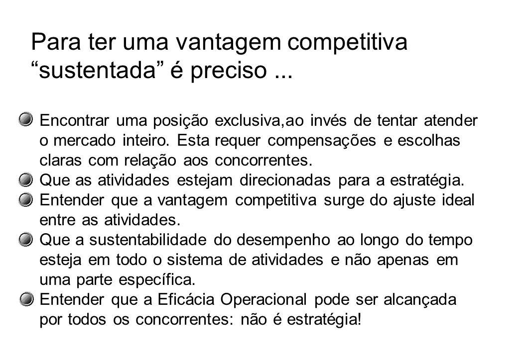 Para ter uma vantagem competitiva sustentada é preciso ...