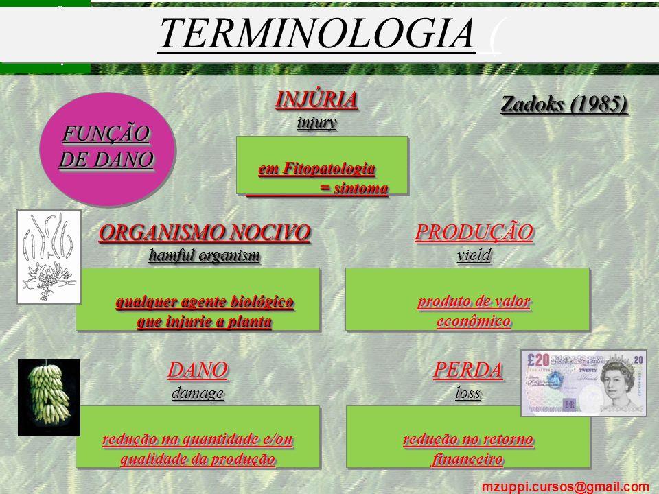 TERMINOLOGIA ( INJÚRIA Zadoks (1985) FUNÇÃO DE DANO ORGANISMO NOCIVO