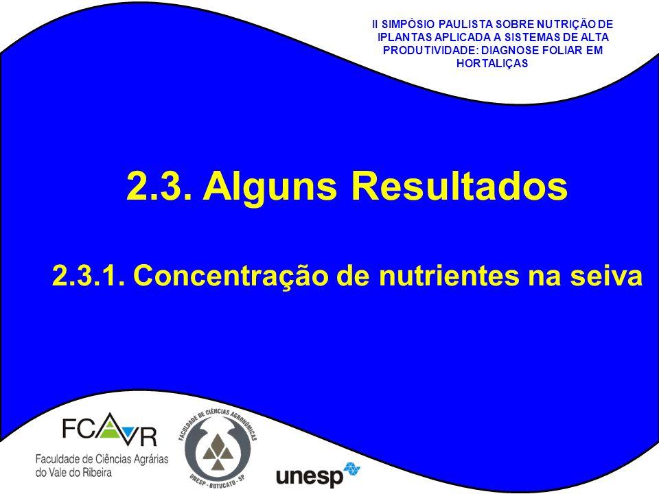 2.3. Alguns Resultados 2.3.1. Concentração de nutrientes na seiva