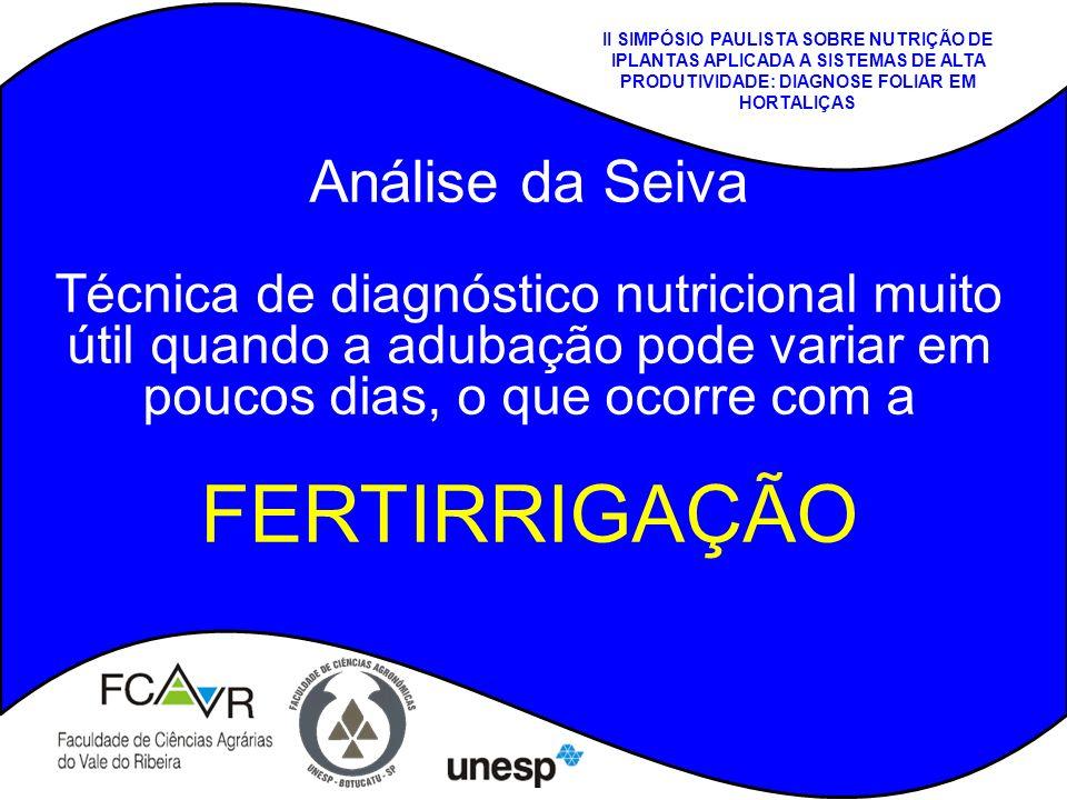 II SIMPÓSIO PAULISTA SOBRE NUTRIÇÃO DE IPLANTAS APLICADA A SISTEMAS DE ALTA PRODUTIVIDADE: DIAGNOSE FOLIAR EM HORTALIÇAS