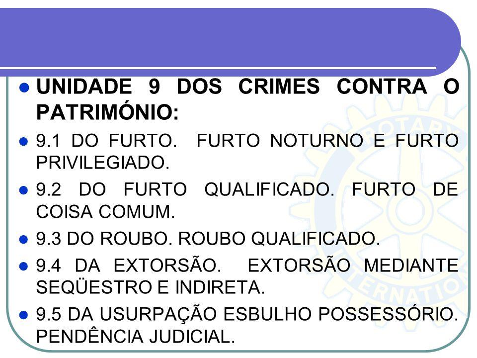 UNIDADE 9 DOS CRIMES CONTRA O PATRIMÓNIO: