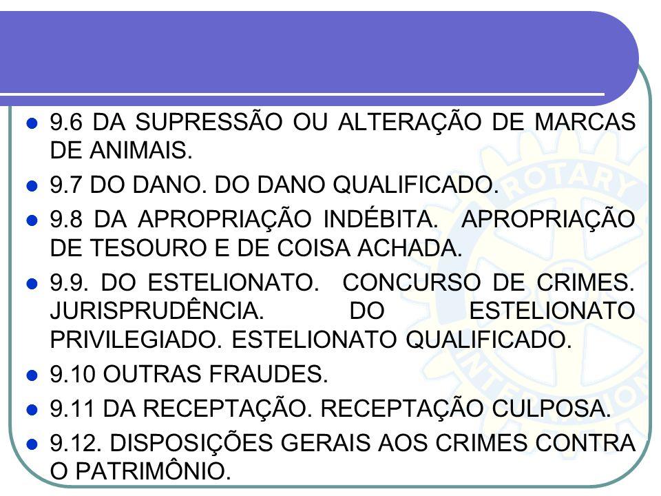 9.6 DA SUPRESSÃO OU ALTERAÇÃO DE MARCAS DE ANIMAIS.