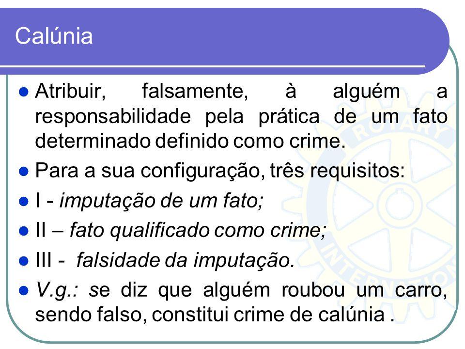 Calúnia Atribuir, falsamente, à alguém a responsabilidade pela prática de um fato determinado definido como crime.