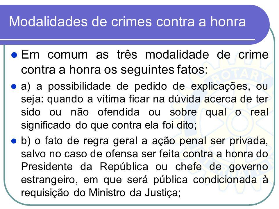Modalidades de crimes contra a honra