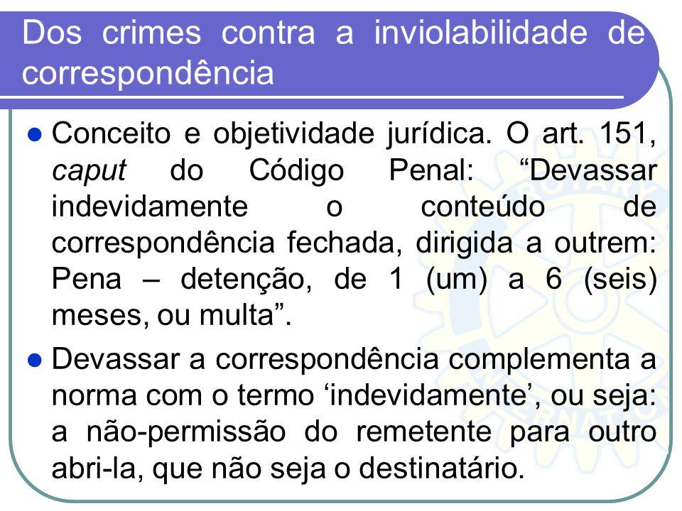 Dos crimes contra a inviolabilidade de correspondência