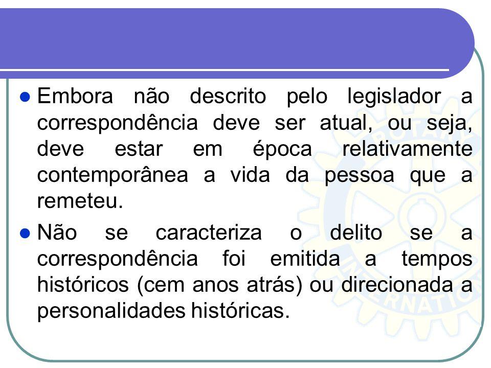 Embora não descrito pelo legislador a correspondência deve ser atual, ou seja, deve estar em época relativamente contemporânea a vida da pessoa que a remeteu.