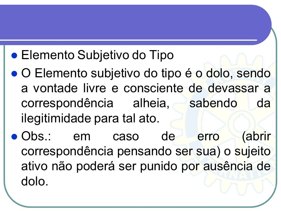Elemento Subjetivo do Tipo