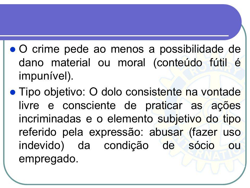 O crime pede ao menos a possibilidade de dano material ou moral (conteúdo fútil é impunível).