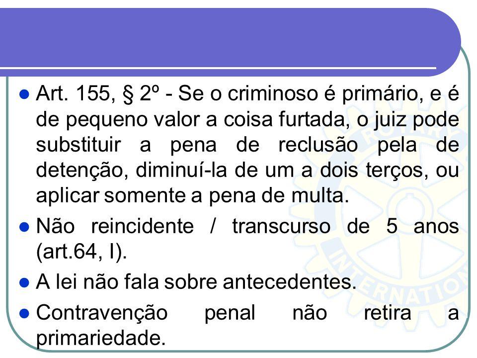 Art. 155, § 2º - Se o criminoso é primário, e é de pequeno valor a coisa furtada, o juiz pode substituir a pena de reclusão pela de detenção, diminuí-la de um a dois terços, ou aplicar somente a pena de multa.