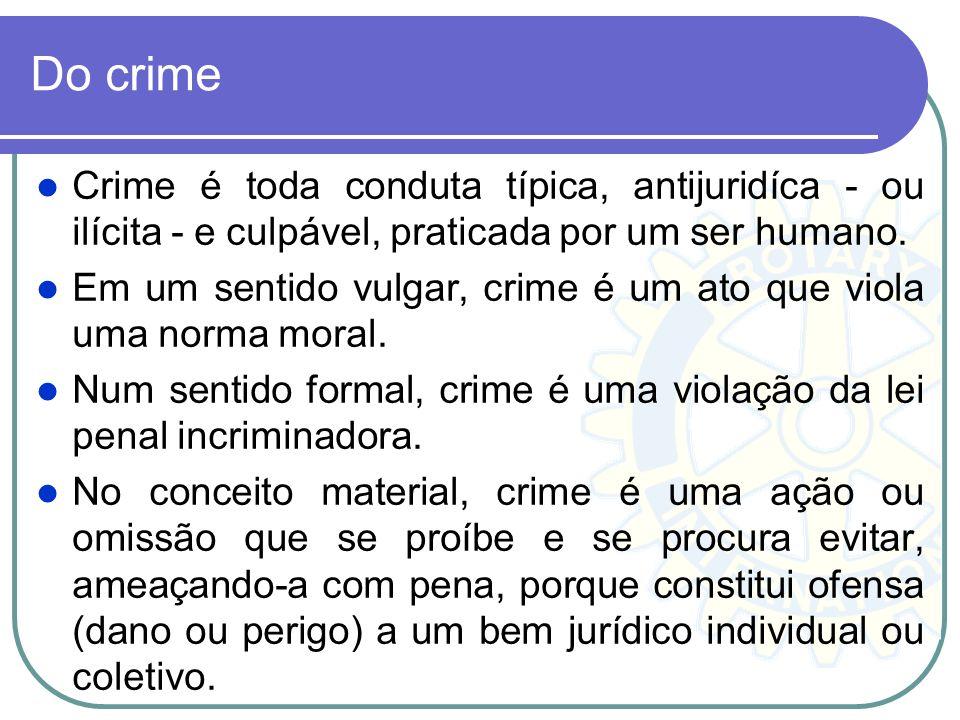 Do crime Crime é toda conduta típica, antijuridíca - ou ilícita - e culpável, praticada por um ser humano.