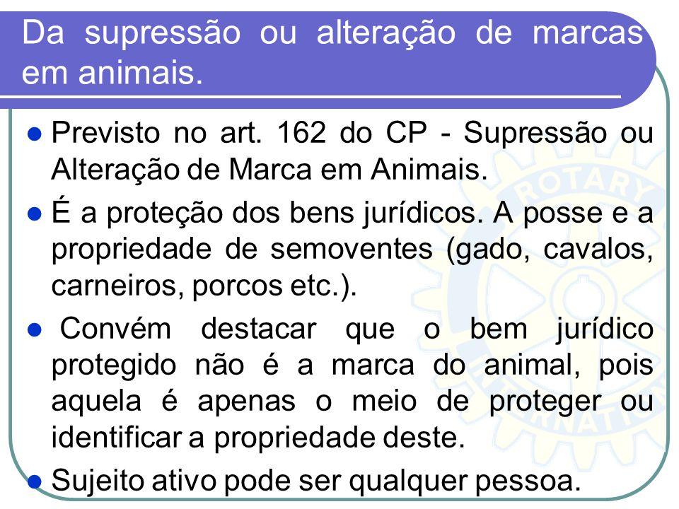 Da supressão ou alteração de marcas em animais.