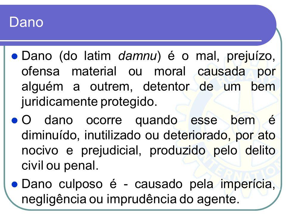 Dano Dano (do latim damnu) é o mal, prejuízo, ofensa material ou moral causada por alguém a outrem, detentor de um bem juridicamente protegido.