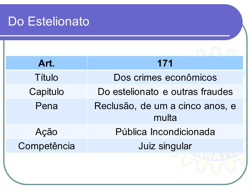 Do Estelionato Art. 171 Título Dos crimes econômicos Capitulo