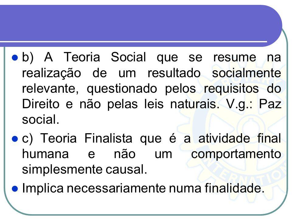 b) A Teoria Social que se resume na realização de um resultado socialmente relevante, questionado pelos requisitos do Direito e não pelas leis naturais. V.g.: Paz social.