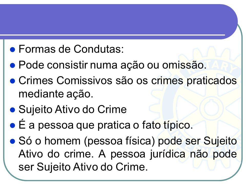 Formas de Condutas: Pode consistir numa ação ou omissão. Crimes Comissivos são os crimes praticados mediante ação.