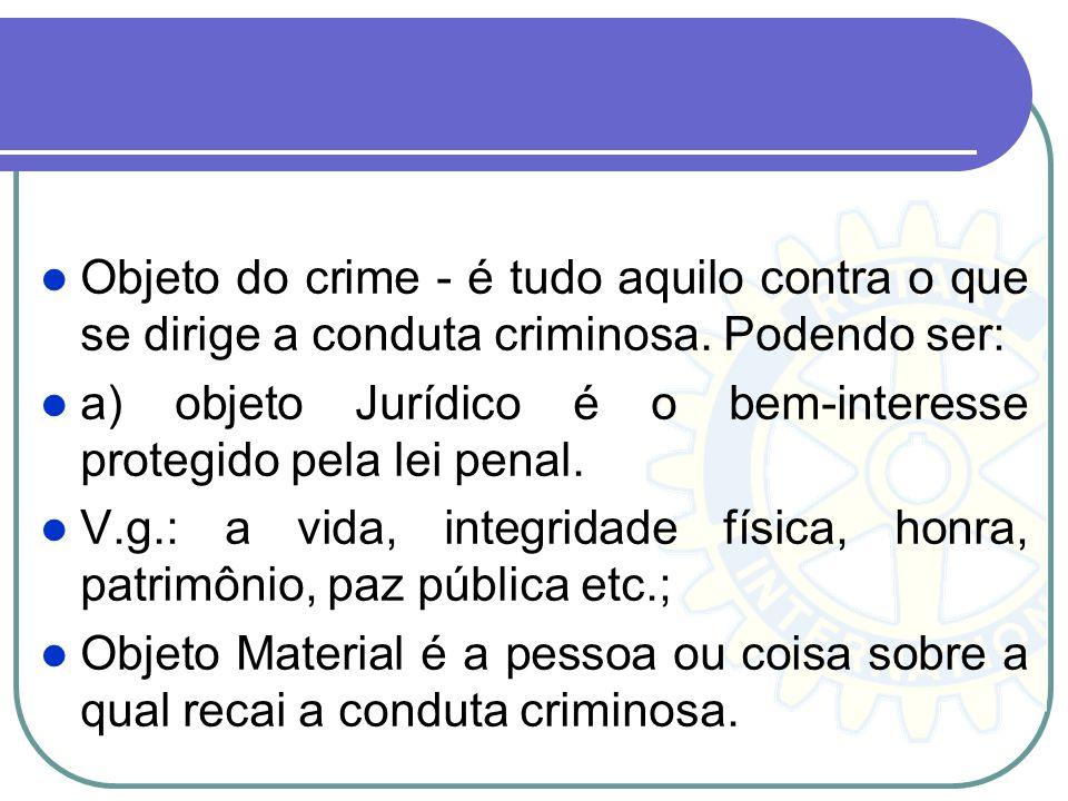 Objeto do crime - é tudo aquilo contra o que se dirige a conduta criminosa. Podendo ser:
