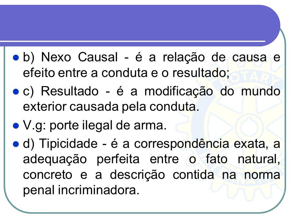 b) Nexo Causal - é a relação de causa e efeito entre a conduta e o resultado;