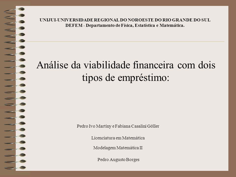 Análise da viabilidade financeira com dois tipos de empréstimo: