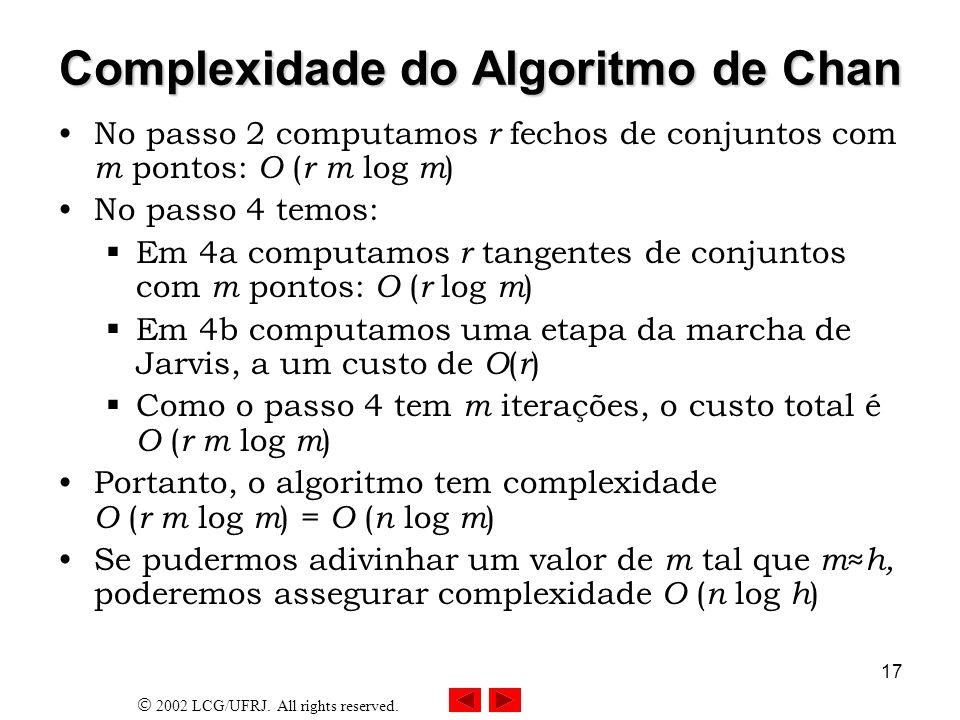 Complexidade do Algoritmo de Chan
