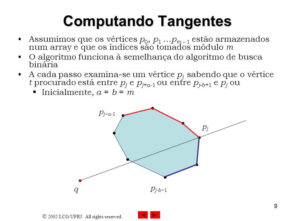 Computando Tangentes Assumimos que os vértices p0, p1 ...pm – 1 estão armazenados num array e que os índices são tomados módulo m.