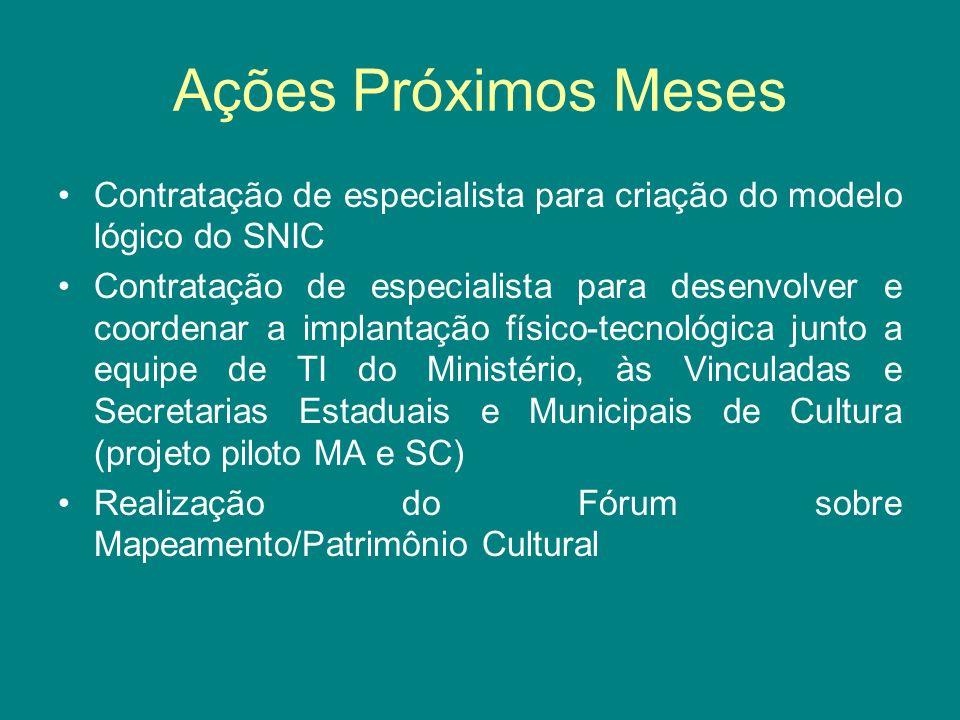 Ações Próximos Meses Contratação de especialista para criação do modelo lógico do SNIC.