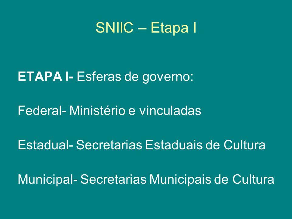 SNIIC – Etapa I ETAPA I- Esferas de governo:
