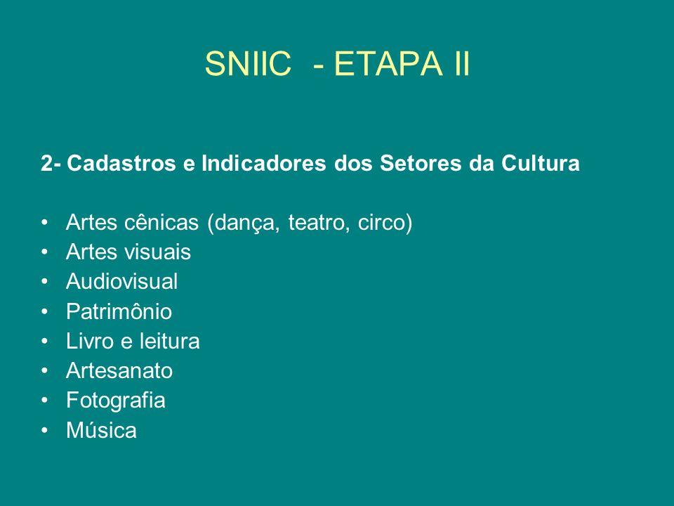 SNIIC - ETAPA II 2- Cadastros e Indicadores dos Setores da Cultura