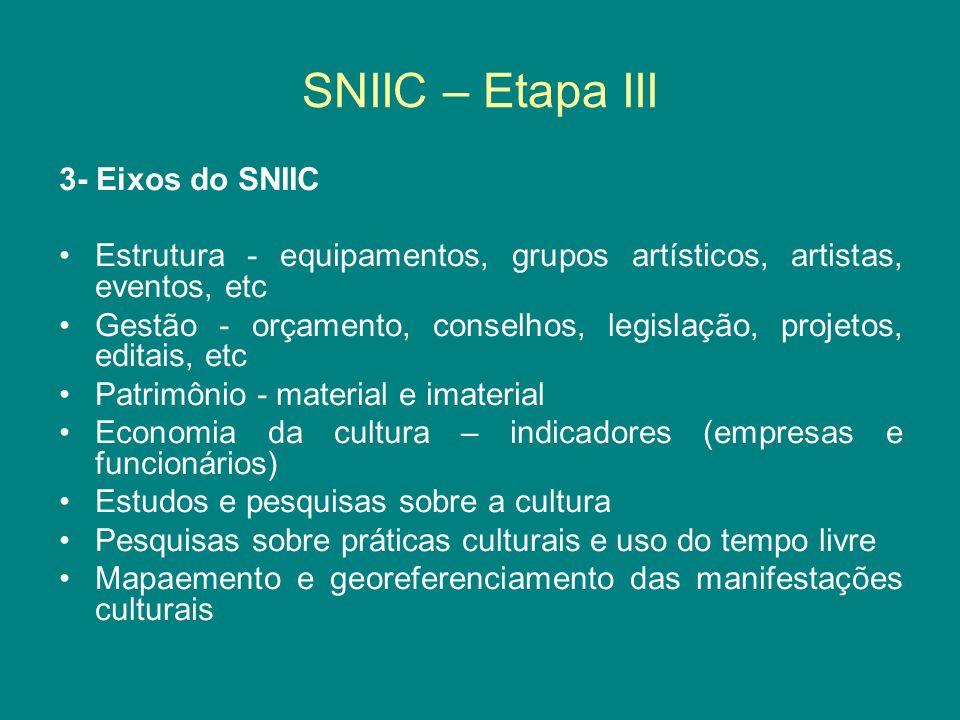 SNIIC – Etapa III 3- Eixos do SNIIC
