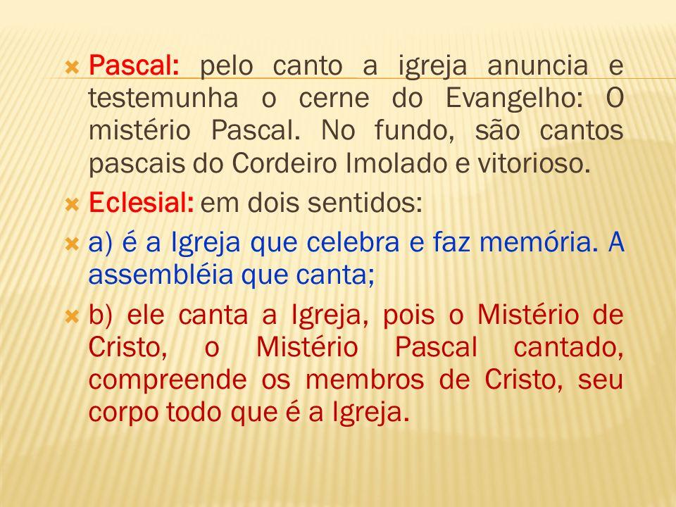 Pascal: pelo canto a igreja anuncia e testemunha o cerne do Evangelho: O mistério Pascal. No fundo, são cantos pascais do Cordeiro Imolado e vitorioso.