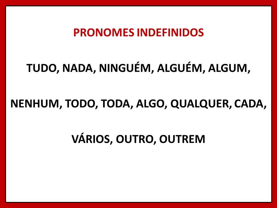 PRONOMES INDEFINIDOS TUDO, NADA, NINGUÉM, ALGUÉM, ALGUM, NENHUM, TODO, TODA, ALGO, QUALQUER, CADA, VÁRIOS, OUTRO, OUTREM