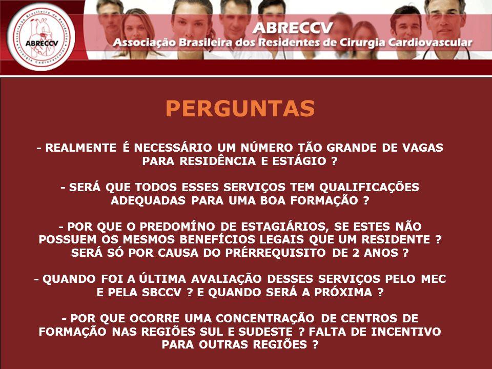 PERGUNTAS - REALMENTE É NECESSÁRIO UM NÚMERO TÃO GRANDE DE VAGAS PARA RESIDÊNCIA E ESTÁGIO