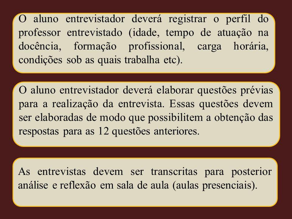 O aluno entrevistador deverá registrar o perfil do professor entrevistado (idade, tempo de atuação na docência, formação profissional, carga horária, condições sob as quais trabalha etc).
