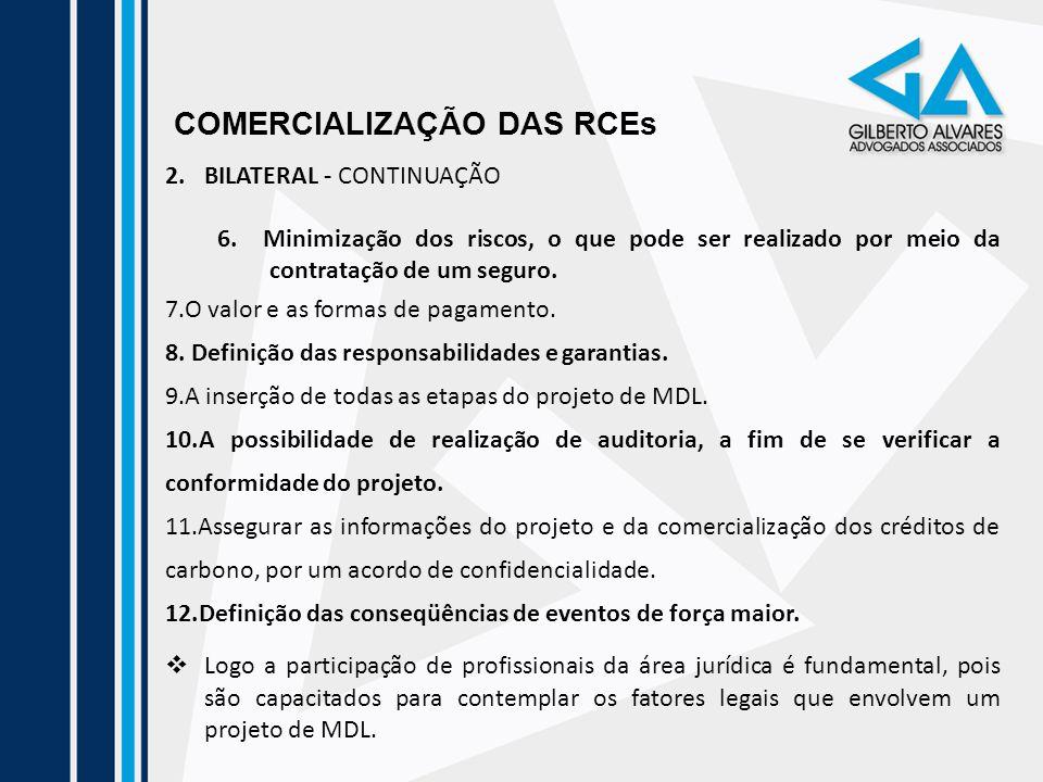 COMERCIALIZAÇÃO DAS RCEs