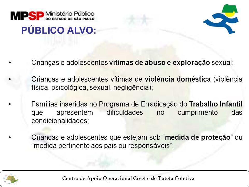 PÚBLICO ALVO: Crianças e adolescentes vítimas de abuso e exploração sexual;