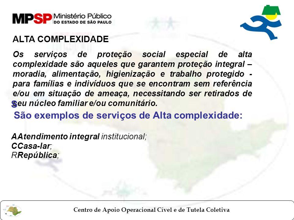 São exemplos de serviços de Alta complexidade:
