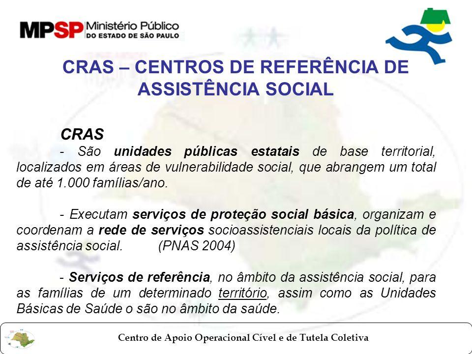 CRAS – CENTROS DE REFERÊNCIA DE ASSISTÊNCIA SOCIAL