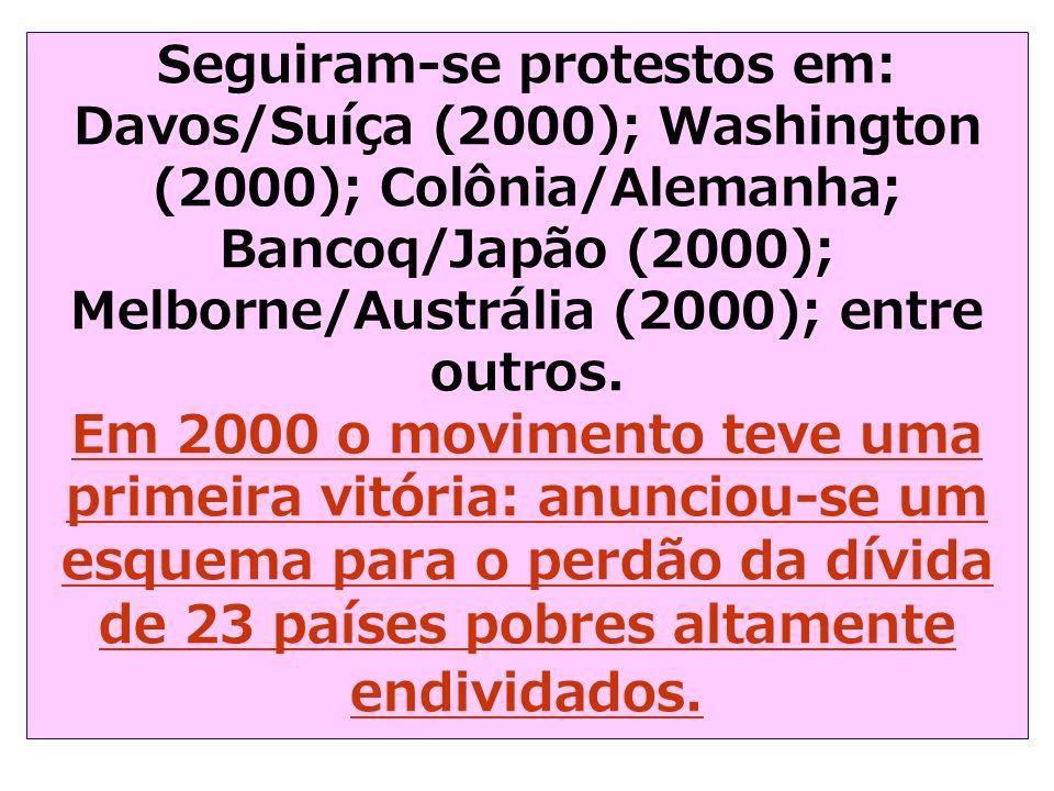 Seguiram-se protestos em: Davos/Suíça (2000); Washington (2000); Colônia/Alemanha; Bancoq/Japão (2000); Melborne/Austrália (2000); entre outros.