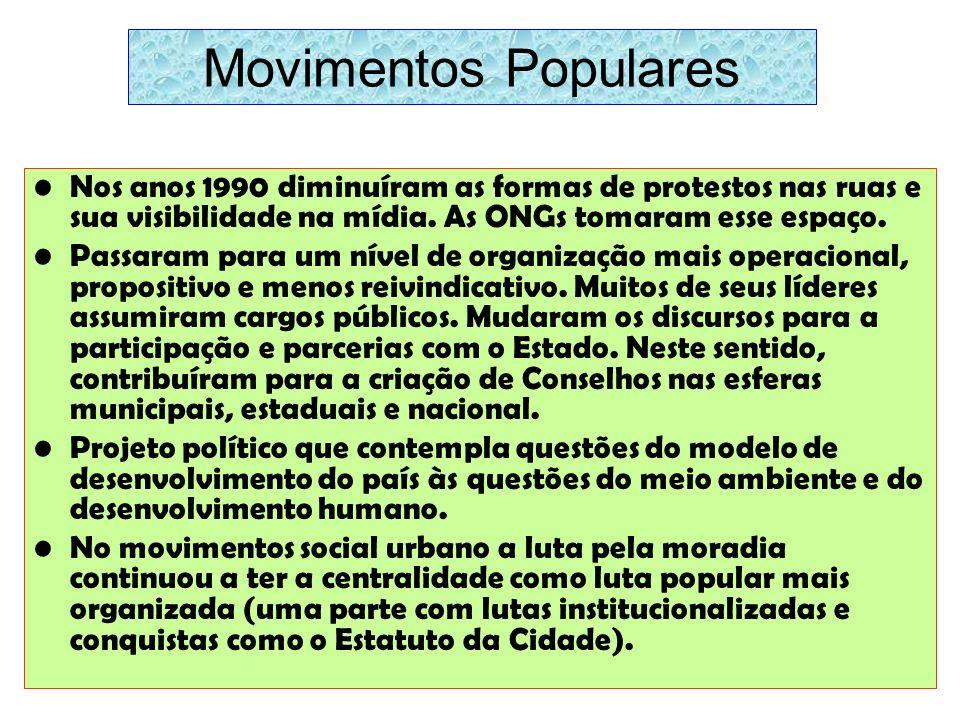 Movimentos Populares Nos anos 1990 diminuíram as formas de protestos nas ruas e sua visibilidade na mídia. As ONGs tomaram esse espaço.