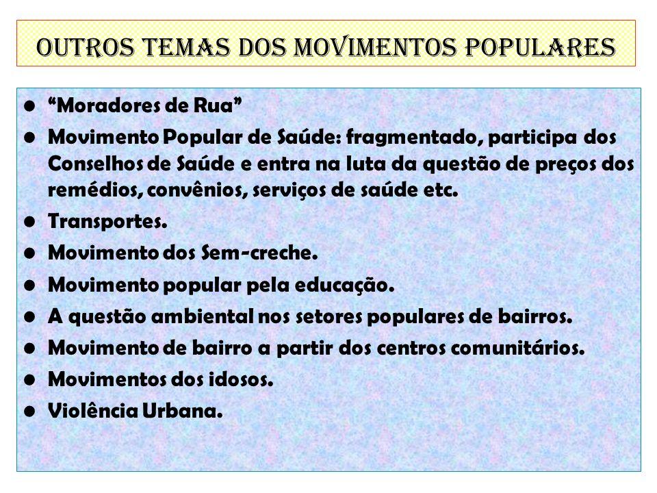 Outros temas dos Movimentos Populares