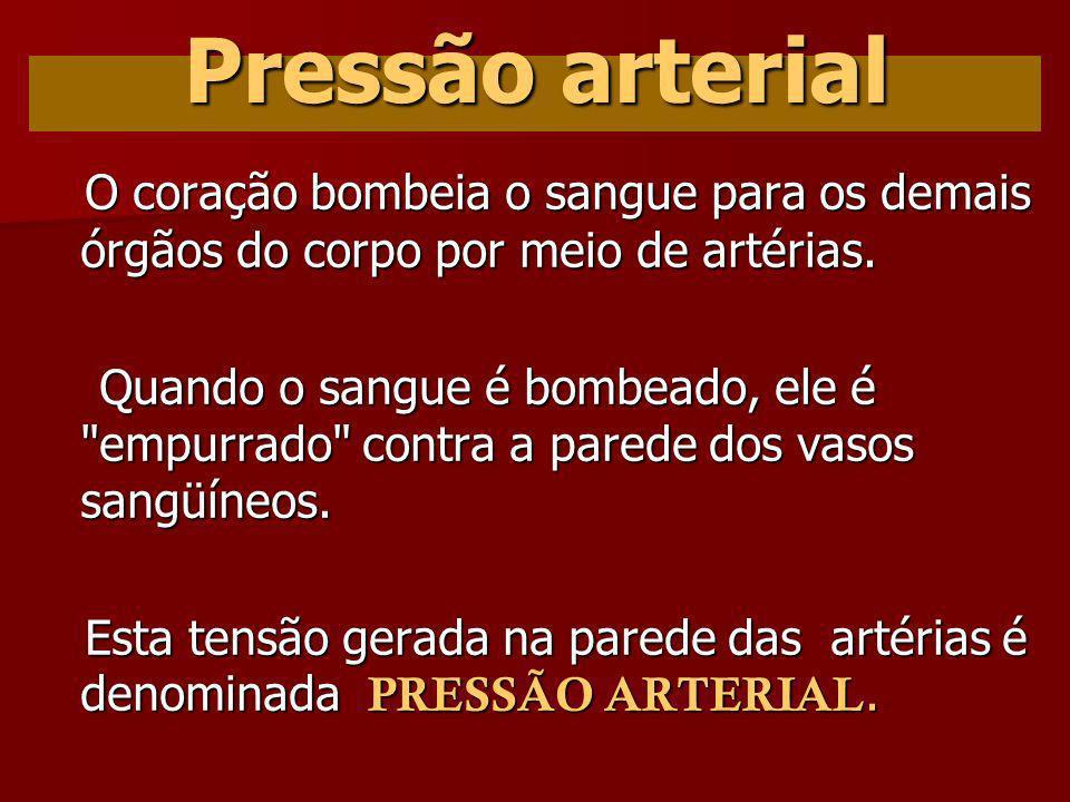 Pressão arterial O coração bombeia o sangue para os demais órgãos do corpo por meio de artérias.