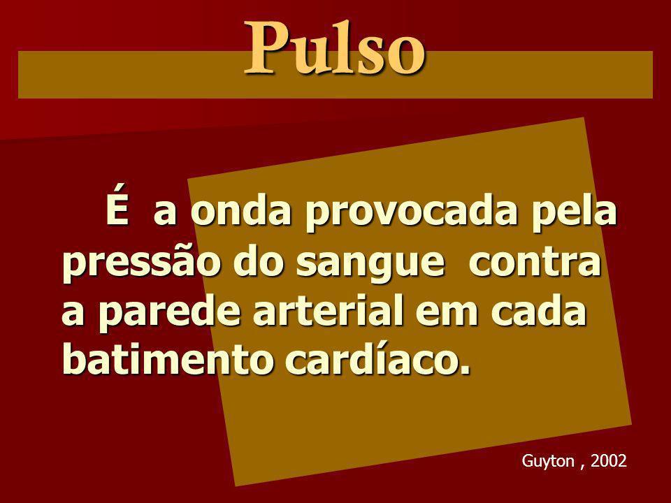 Pulso É a onda provocada pela pressão do sangue contra a parede arterial em cada batimento cardíaco.
