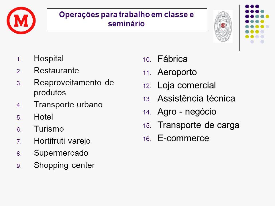 Operações para trabalho em classe e seminário
