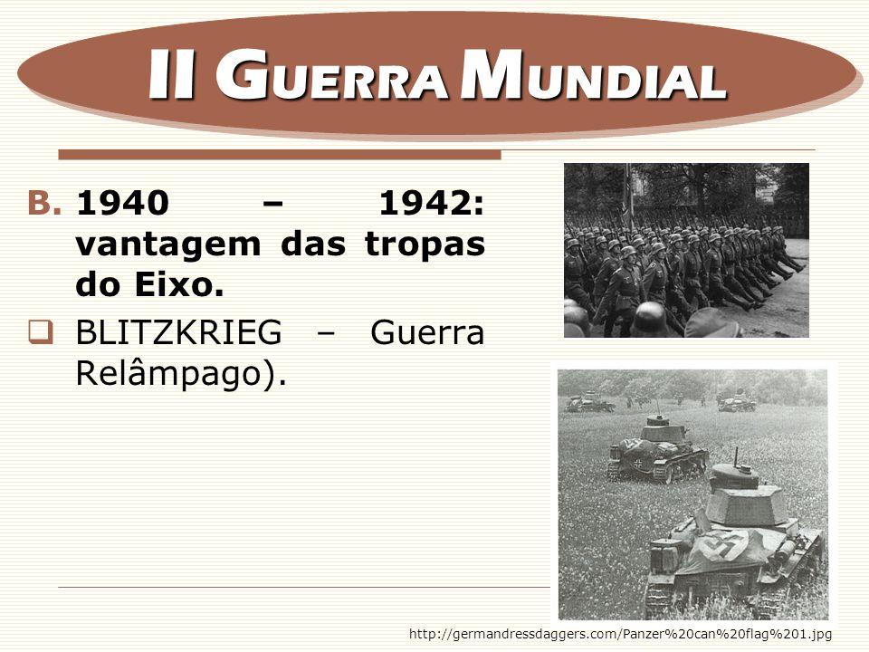 II GUERRA MUNDIAL 1940 – 1942: vantagem das tropas do Eixo.