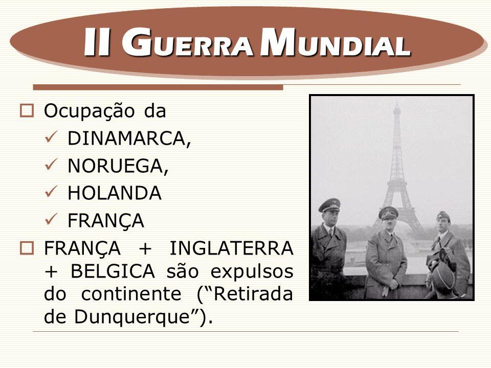 II GUERRA MUNDIAL Ocupação da DINAMARCA, NORUEGA, HOLANDA FRANÇA