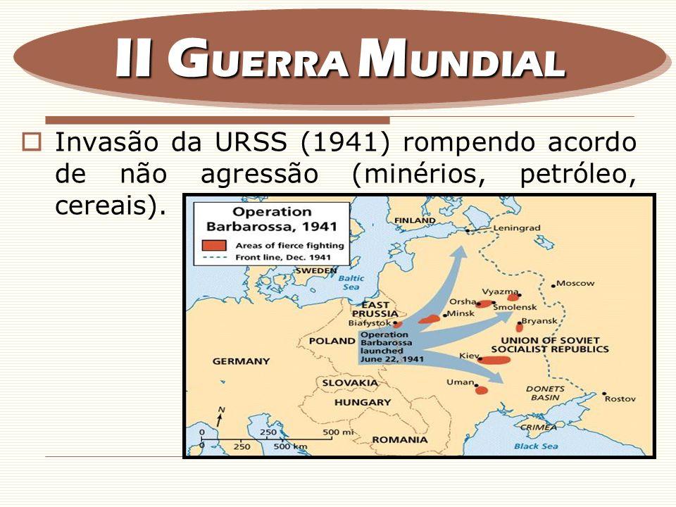 II GUERRA MUNDIAL Invasão da URSS (1941) rompendo acordo de não agressão (minérios, petróleo, cereais).
