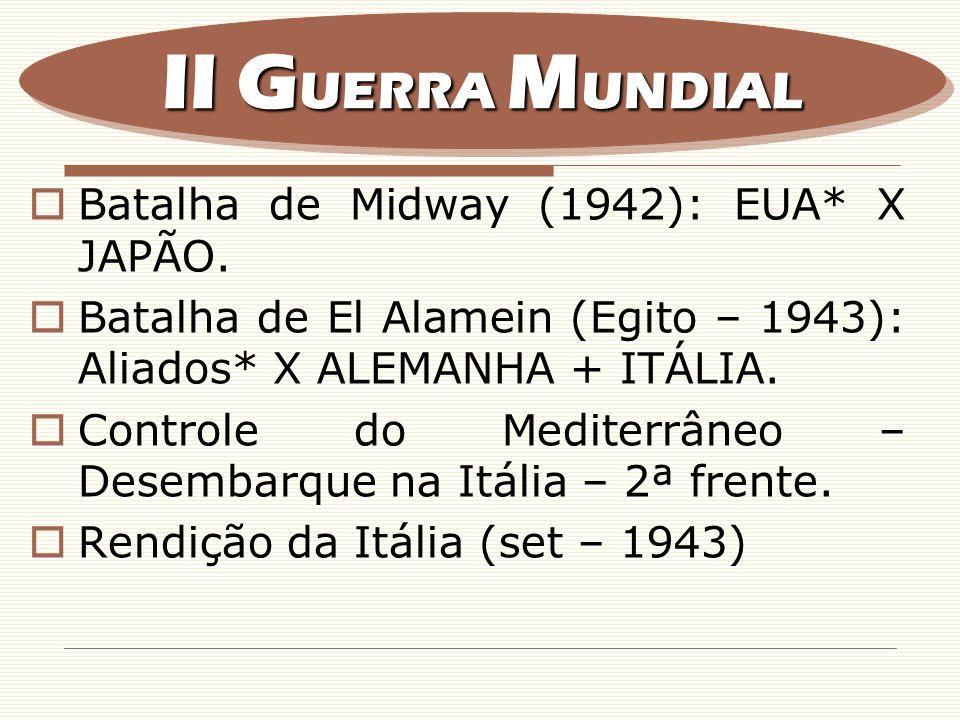 II GUERRA MUNDIAL Batalha de Midway (1942): EUA* X JAPÃO.