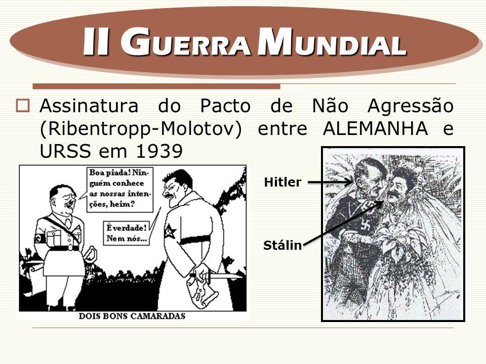 II GUERRA MUNDIAL Assinatura do Pacto de Não Agressão (Ribentropp-Molotov) entre ALEMANHA e URSS em 1939.