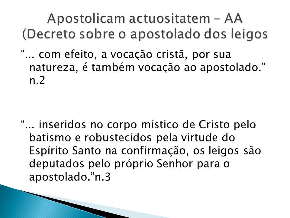 Apostolicam actuositatem – AA (Decreto sobre o apostolado dos leigos