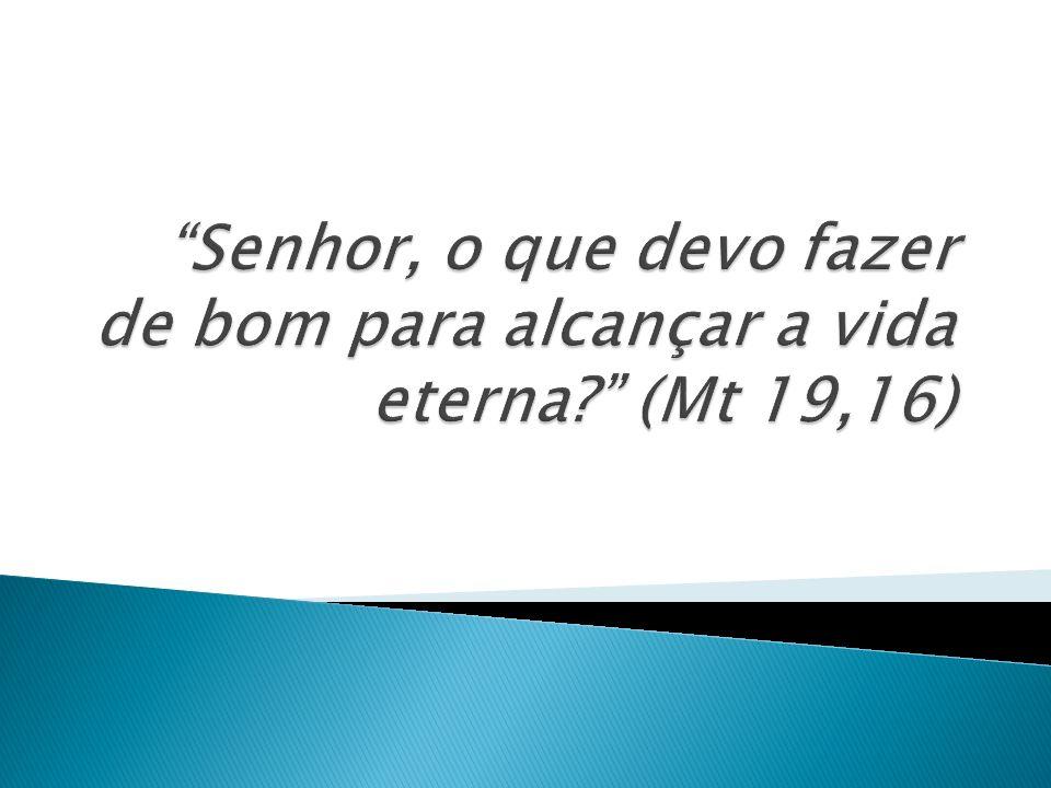 Senhor, o que devo fazer de bom para alcançar a vida eterna